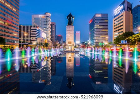SEOUL, SOUTH KOREA - JUNE 04, 2016:Gwanghwamun Plaza with the statue of the Admiral Yi Sun-sin in Seoul City.Photo taken on June 04,2016 in seoul,South Korea.