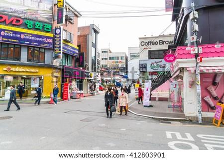 Seoul , South Korea - Mar 8, 2016 :Hongdae Area , Hongik on March 8 2016, in Seoul South Korea. Place to show art and shopping district famous. - stock photo