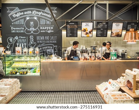 Seoul, South Korea - 1 March, 2015 : Coffee with Linefriends Cafe in Seoul, Korea. - stock photo