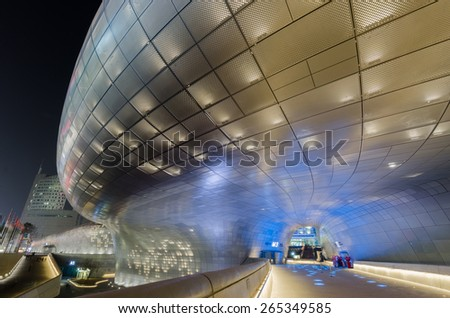 SEOUL, SOUTH KOREA - March 29:Dongdaemun Design Plaza, designed by the famous architect Zaha Hadid. on March 29, 2015 in Seoul, South Korea. - stock photo