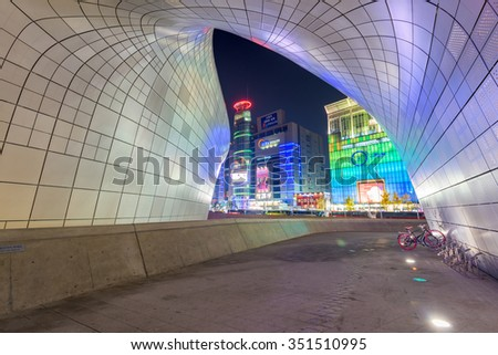 SEOUL, SOUTH KOREA - November 21:Dongdaemun Design Plaza, designed by the famous architect Zaha Hadid. on November 21, 2015 in Seoul, South Korea. - stock photo