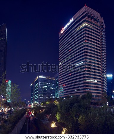 Seoul, South Korea - October 10, 2015: Evening view on the modern Seoul - stock photo