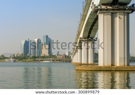Seoul Subway and Bridge at Hanriver in Seoul, South korea - stock photo