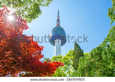Seoul Tower and red autumn maple leaves at Namsan mountain in South Korea. - stock photo
