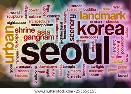 Seoul word cloud concept with abstract background - stock photo