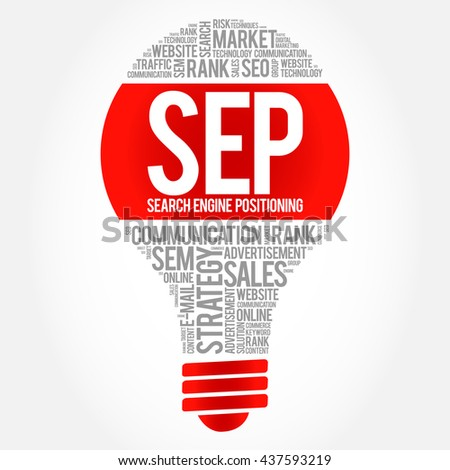 SEP (search engine positioning) bulb word cloud, business concept - stock photo