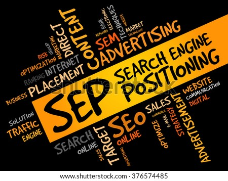 SEP (search engine positioning) word cloud business concept - stock photo