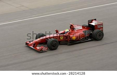 SEPANG, MALAYSIA - APRIL 5: Felipe Massa of Scuderia Ferrari in action during the 2009 Formula 1 PETRONAS Malaysian Grand Prix April 5, 2009 in Sepang International Circuit, Malaysia. - stock photo