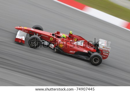 SEPANG, MALAYSIA - APRIL 8: Felipe Massa of Scuderia Ferrari Marlboro in action at PETRONAS Malaysian Grand Prix on April 8, 2011 in Sepang, Malaysia. The race will be held on Sunday April 10, 2011.