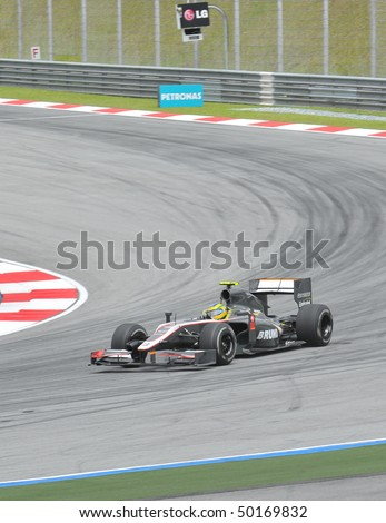 SEPANG, MALAYSIA - APRIL 2 : Hispania Racing F1 driver Bruno Senna of Brazil drives during Petronas Malaysian Grand Prix second practice session at Sepang F1 circuit April 2, 2010 in Sepang