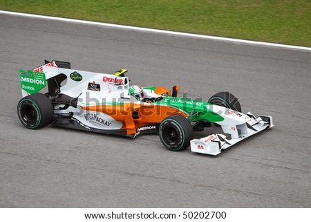 SEPANG, MALAYSIA - APRIL 4: Italian Vitantonio Liuzzi of Team Force India at top speed on the main straight at the Petronas Formula 1 Grand Prix April 4, 2010 in Sepang, Malaysia