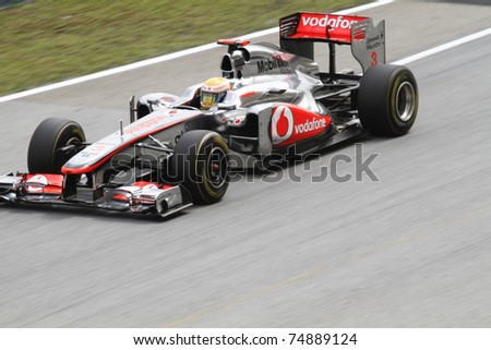 SEPANG, MALAYSIA - APRIL 8: Lewis Hamilton of Vodafone McLaren Mercedes in action at PETRONAS Malaysian Grand Prix on April 8, 2011 in Sepang, Malaysia. The race will be held on Sunday April 10, 2011.