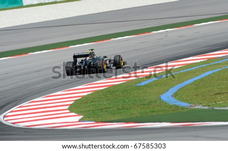 SEPANG, MALAYSIA - APRIL 2 : Lotus Team Drivers, Jarno Trulli action on track in Petronas Formula One 2010 at Sepang circuit. April 2, 2010 in Sepang, Malaysia