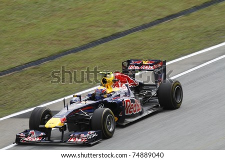 SEPANG, MALAYSIA - APRIL 8: Mark Webber of Red Bull Racing in action at PETRONAS Malaysian Grand Prix on April 8, 2011 in Sepang, Malaysia. The race will be held on Sunday April 10, 2011. - stock photo