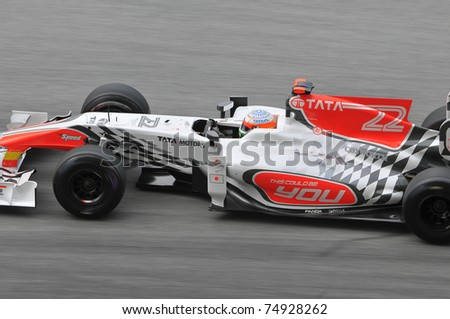 SEPANG, MALAYSIA - APRIL 8: Narain Karthikeyan of HRT Hispania Racing F1 Team during practice session at PETRONAS Malaysian GP on April 8, 2011 in Sepang, Malaysia. The race will be held on April 10