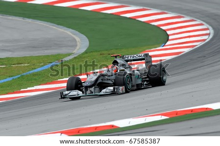 SEPANG, MALAYSIA - APRIL 2 : Petronas Mercedes Racing Team Driver, Michael Schumacher action on track in Petronas Formula One 2010 at Sepang circuit. April 2, 2010 in Sepang, Malaysia