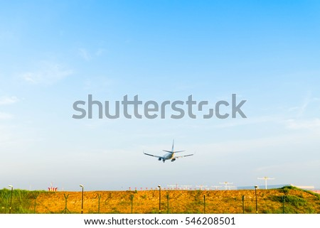 SEPANG, MALAYSIA - DECEMBER 30, 2016: Malaysia airlines plane Boeing 777-200, landing at KLIA airport on December 30, 2016 in KLIA, Sepang, Malaysia.