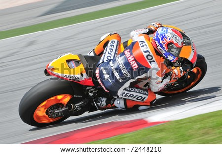 SEPANG, MALAYSIA-FEB 24: Casey Stoner of Repsol Honda Team at MotoGP Official Test Sepang 2 on Feb 24, 2011 in Sepang, Malaysia. - stock photo