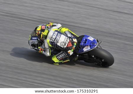SEPANG, MALAYSIA-FEB 5, 2014: Italian nine Grand Prix World Championships of Italy No. 46 Valentino Rossi of Yamaha Factory Racing at MotoGP Official Test Sepang 1 in Sepang, Malaysia. - stock photo