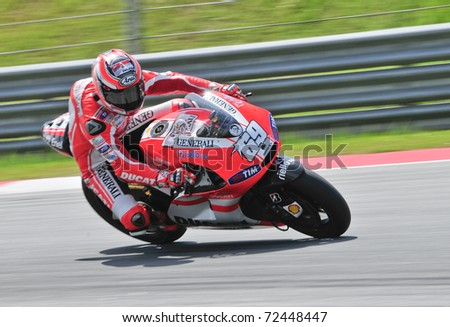 SEPANG, MALAYSIA-FEB 24: Nicky Hayden of Ducati Marlboro Team at MotoGP Official Test Sepang 2 on Feb 24, 2011 in Sepang, Malaysia. - stock photo