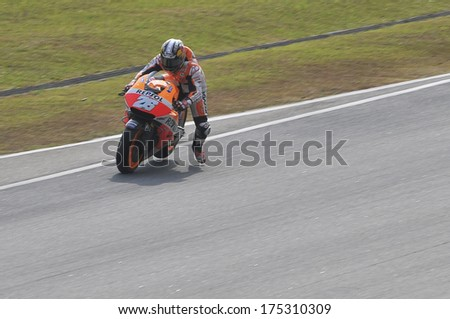 SEPANG, MALAYSIA-FEB 5, 2014: Spanish MotoGP rider Dani Pedrosa of Spain no. 26 Repsol Honda Team at MotoGP Official Test Sepang 1 in Sepang, Malaysia. - stock photo