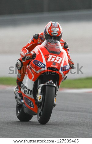 SEPANG, MALAYSIA-FEB 7: USA No. 69 Nicky Hayden of Ducati Team at MotoGP Official Test Sepang 1 on Feb 7, 2013 in Sepang, Malaysia. Season 2013 will start in Qatar on April 7. - stock photo