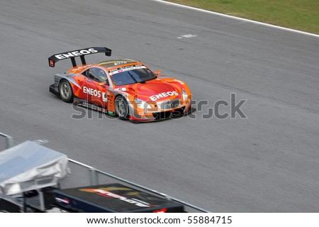 SEPANG, MALAYSIA - JUNE 21: The Eneos SC430 (6) car in action at the Super GT International Series Round 4 race. June 21, 2010 in Sepang Malaysia.