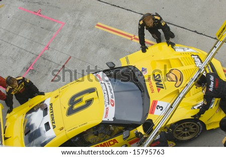 Sepang, Malaysia - June 22, 2008: Top view of Team Yellowhat YMS Tomica GT-R at Super GT Malaysia Championship 2008 - stock photo