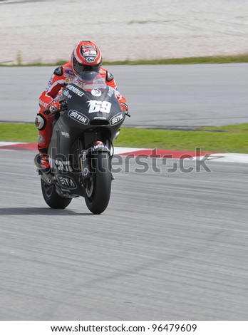 SEPANG,MALAYSIA-MARCH 1:American Nicky Hayden of Ducati Team at 2012 MotoGP Official Winter Test Sepang 2 on Mar. 1, 2012 in Sepang, Malaysia. The 2012 MotoGP season starts on April 8 in Qatar. - stock photo