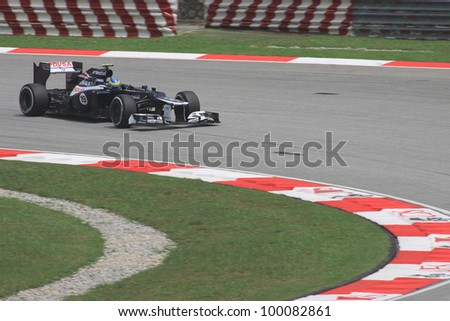 SEPANG, MALAYSIA - MARCH 23: Brazilian Bruno Senna of Williams-Renault in action during Friday practice at Petronas Formula 1 Grand Prix on March 23, 2012 in Sepang, Malaysia