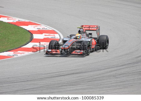 SEPANG, MALAYSIA - MARCH 23: British Lewis Hamilton of McLaren-Mercedes in action during Friday practice at Petronas Formula 1 Grand Prix on March 23, 2012 in Sepang, Malaysia