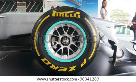 SEPANG, MALAYSIA-MARCH 23 : Close-up of Pirelli tyre on Petronas Mercedes GP F1 on display during the Malaysian F1 Grand Prix on March 23, 2012 in Sepang International Circuit in Sepang, Malaysia. - stock photo