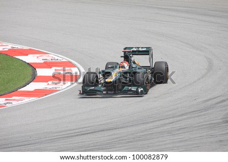 SEPANG, MALAYSIA - MARCH 23: Finnish Heikki Kovalainen of Caterham-Renault in action during Friday practice at Petronas Formula 1 Grand Prix on March 23, 2012 in Sepang, Malaysia