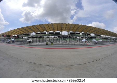 SEPANG,MALAYSIA-MARCH 1: Fisheye view of Sepang Track during 2012 MotoGP Official Winter Test Sepang 2 on Mar. 1, 2012 in Sepang, Malaysia.The 2012 MotoGP season starts on April 8 in Qatar. - stock photo