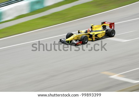 SEPANG, MALAYSIA-MARCH 23 : GP 2 series driver Felipe Nasr of Dams team races during the first practice session on March 23, 2012 at Sepang International Circuit in Sepang, Malaysia. - stock photo