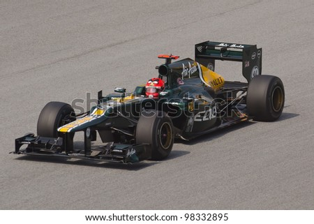 SEPANG, MALAYSIA - MARCH 23: Heikki Kovalainen of Caterham F1 Team takes to the tracks on practice day of the Petronas Malaysian F1 Grand Prix on March 23, 2012 in Sepang, Malaysia.