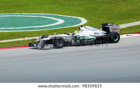 SEPANG, MALAYSIA - MARCH 23: Nico Rosberg (team Mercedes Petronas) at second practice on Formula 1 GP, March 23 2012, Sepang, Malaysia. - stock photo