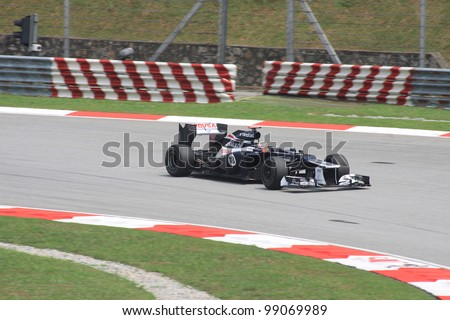 SEPANG, MALAYSIA - MARCH 23: Venezuelan Pastor Maldonado of Williams-Renault in action during Friday practice at Petronas Formula 1 Grand Prix on March 23, 2012 in Sepang, Malaysia