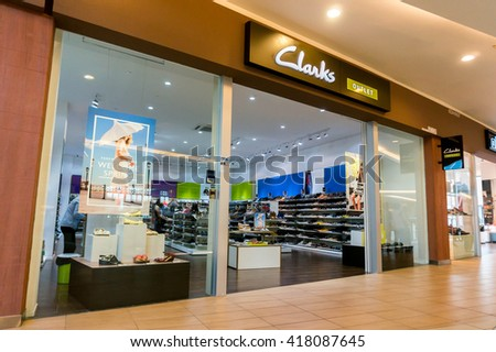 SEPANG, MALAYSIA - MAY 8, 2016: A Clarks shoe store. Clarks is an international shoe manufacturer based in Street, Somerset, England and made a profit of £125 million in 2010.