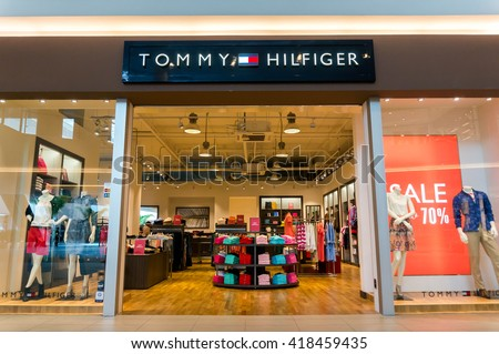 SEPANG, MALAYSIA - MAY 8, 2016: A Tommy Hilfiger store. Since its debut in 1985, the Tommy Hilfiger Group has become a US$ 4.6 billion apparel and retail company. - stock photo