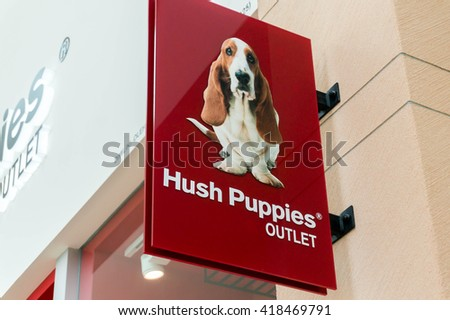 SEPANG, MALAYSIA - MAY 8, 2016: Hush Puppies logo. Hush Puppies is an international brand of footwear. It's the world's leading maker of casual,work and outdoor footwear - stock photo