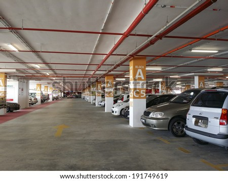 SEPANG, MALAYSIA - MAY 09: New car parking facility at Kuala Lumpur International Airport 2 (KLIA2) May 9, 2014 in Sepang, Selangor. The 2nd terminal is catered for low cost airlines. - stock photo