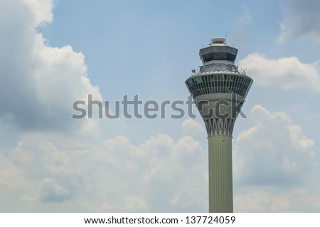 SEPANG, MALAYSIA - MAY 7: The view of KLIA (Kuala Lumpur International Airport ) tower with blue skies on May 7, 2013 in Sepang, Malaysia. It's 1st principal airport in Malaysia.