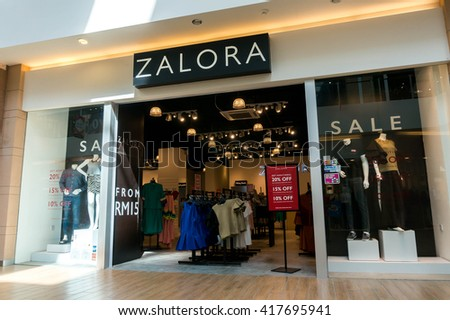 SEPANG, MALAYSIA - MAY 8, 2016: Zalora retail shop. Zalora is part of Lazada Group, e-commerce company headquartered in Singapore that was founded by Rocket Internet in 2011 - stock photo