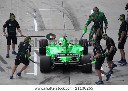 Sepang, Malaysia - November 21: Pit Crew At work of Ireland A1 Team in the Malaysian A1Grand Prix,  Round 3, 2008-2009 Session. - stock photo