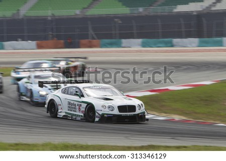Sepang, Malaysia - September 5, 2015 : British Bentley car no 8 enters turn 2 at Asian Festival of Speed Race, Sepang, Malaysia  - stock photo