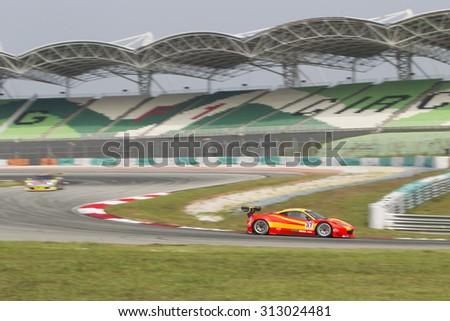 Sepang, Malaysia - September 4, 2015 : Italian Ferrari Car No 37 exits turn 2 at Asian Festival of Speed Race, Sepang, Malaysia  - stock photo