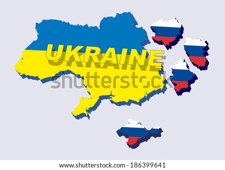 Separate into parts of Ukraine with russian flag. spring events 2014. The country is divided into regions. Vector illustration