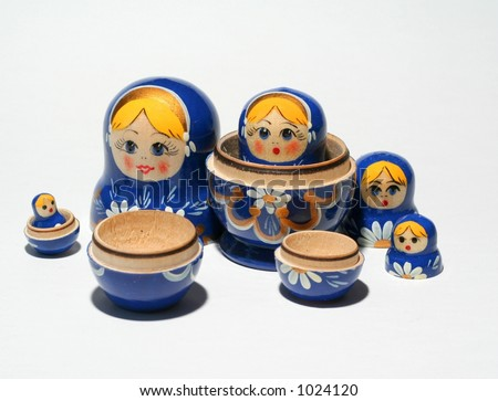 Separated Russian dolls - stock photo