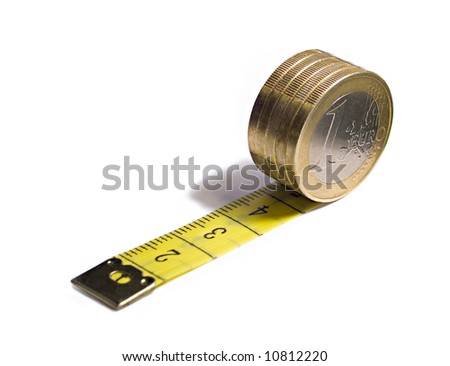 separated tape and euro on white - stock photo
